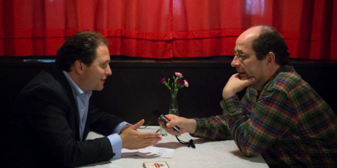 Patrick Hahn im Gespräch mit Martin Hufner. Foto: Petra Basche